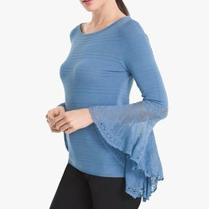 NEW WHBM Blue Petite Flutter Sleeve Sweater PXS